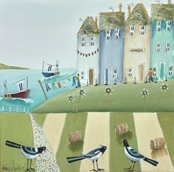 Chatter Pie by Rebecca Lardner -  sized 12x12 inches. Available from Whitewall Galleries